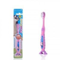 Детская зубная щётка Baby-Brush FlossBrush NEW от 3 до 6 лет, розовая