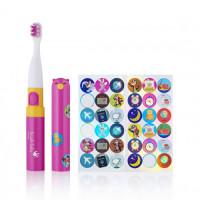 Детская электрическая зубная щетка с наклейками Brush-Baby Go-Kidz™ от 3-х лет, цвет - розовая