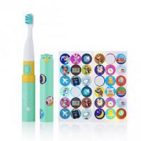 Детская электрическая зубная щетка с наклейками Brush-Baby Go-Kidz™ от 3-х лет, цвет - бирюзовый